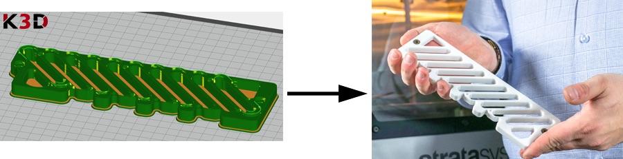 Docisk prasy w oprogramowaniu GrabCAD Print (po lewej) oraz wydruk z drukarki 3D Stratasys Fortus 380mc