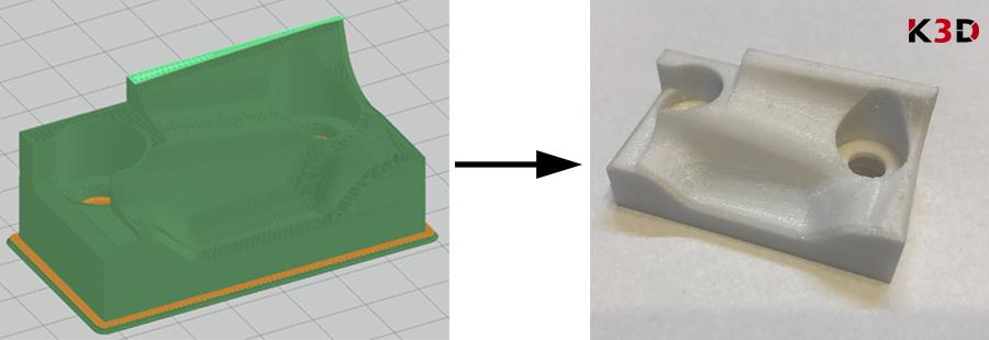 Fixtura - produkcja druk 3D (po lewej model w oprogramowaniu drukarki, po prawej gotowy wydruk)