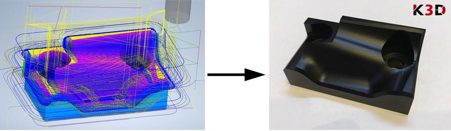 Fixtura - produkcja CNC (po lewej model w oprogramowaniu CAM, po prawej gotowa część)
