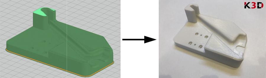 Gniazdo montażowe - produkcja druk 3D (po lewej model w oprogramowaniu drukarki, po prawej gotowy wydruk)