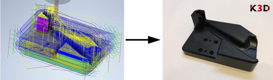 Gniazdo montażowe - produkcja CNC (po lewej model w oprogramowaniu CAM, po prawej gotowa część)